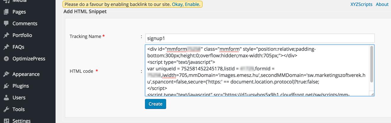 Embeding forms into WordPress sites
