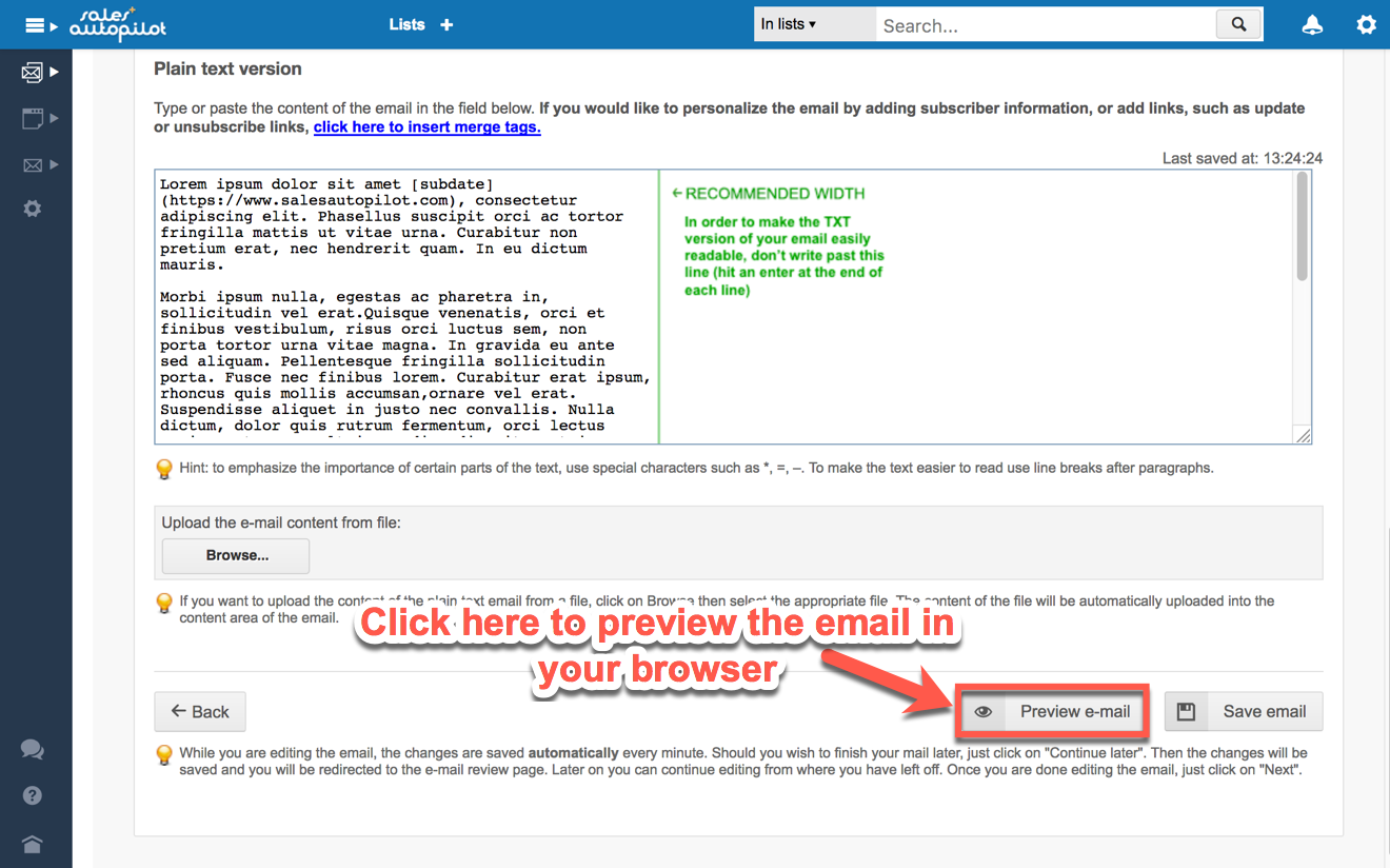 The plain text version of the email will be displayed in a new window click the html button to view the html version