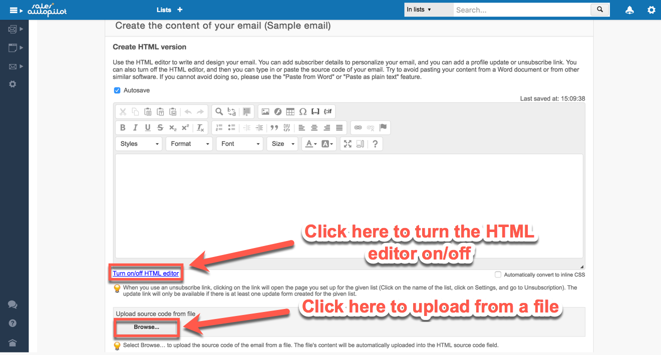 Creating and personalizing HTML emails – SalesAutopilot